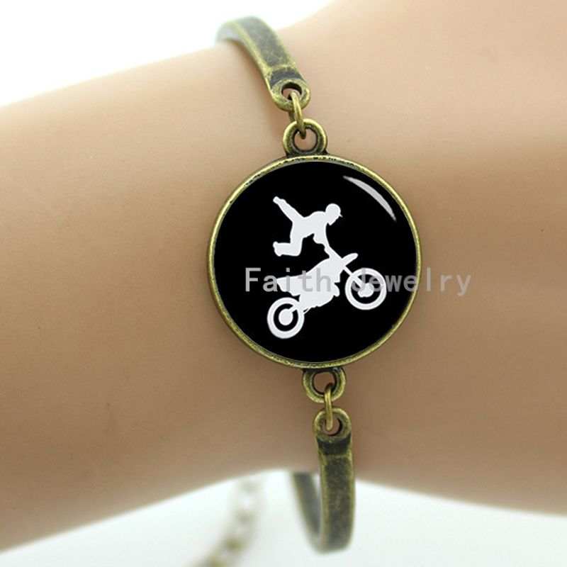 Vintage motorcross silhouette bracelet cool moto rider sports jewelry galaxy nebula octopus moon surface bracelet men women T741