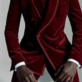 2020 カスタムメイド冬ブルゴーニュベルベットのスーツの男性新郎ブレザースリムフィット 3 ピースウエディングドレスタキシードカスタム結婚式のスーツ