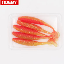 5pcs NOEBY soft worm lure baits long tail grubs luminious silicone isca  fishing wobbler baits swimbaits 10cm/9g noctilucence