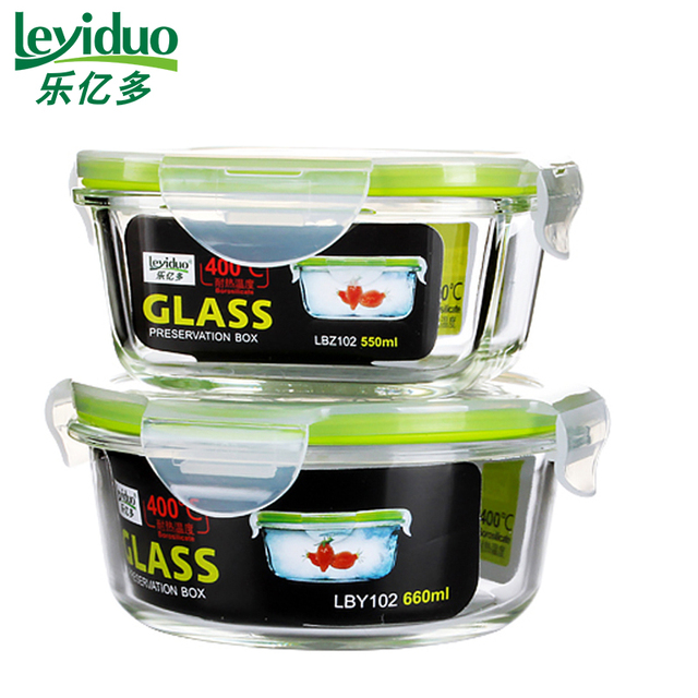 leyiduo 2pcs Glass Lunch Box Transparent Microwavable Kitchen Leaf