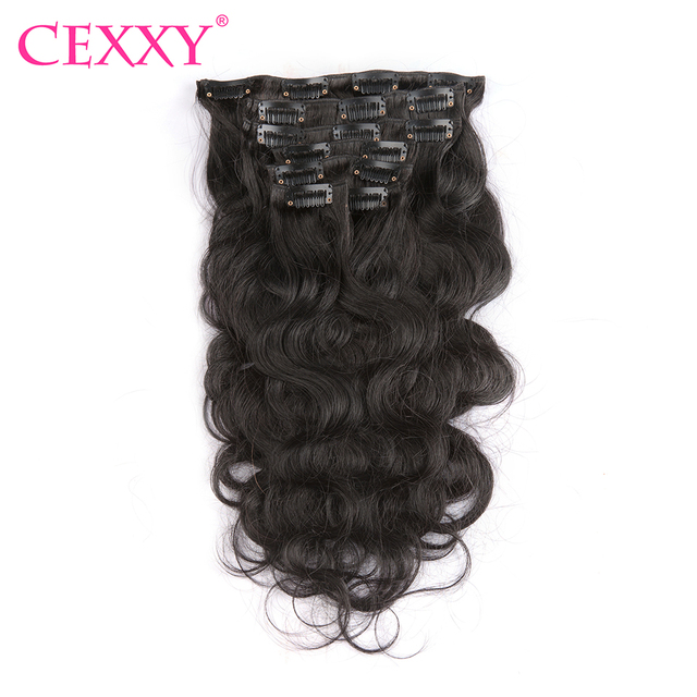 Cexxy Clip In Human Hair Extensions Body Wave 100g Natural Color 7