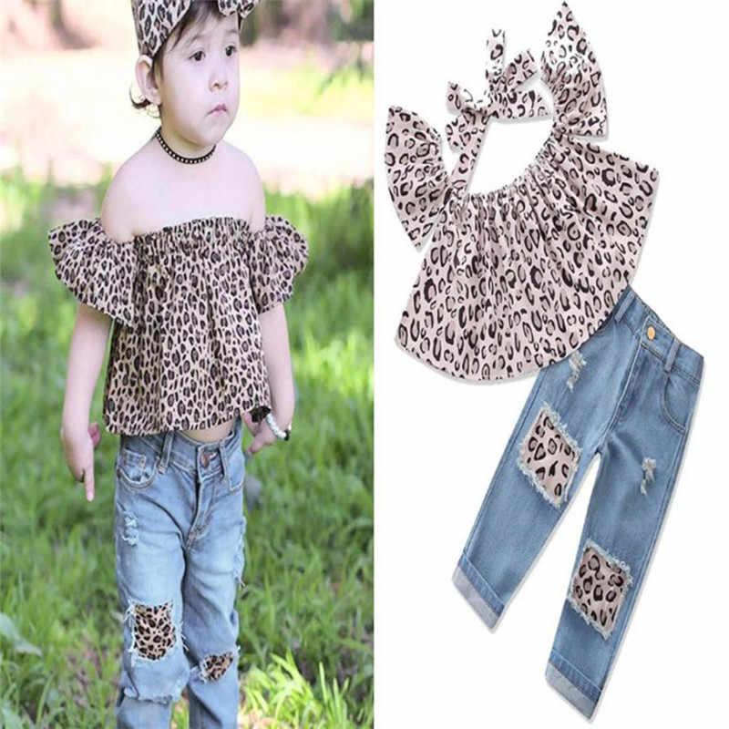 3 шт. комплект детской одежды для маленьких детей наряды для девочек леопардовые топы с открытыми плечами + рваные джинсы + повязка на голову летняя детская одежда # xm25