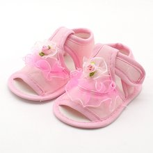 Baby Girl Lace Flowers Sandals Cotton Fabric Female Sandals Girl Summer Shoes Flowers Sandals for 0-18 M(China)