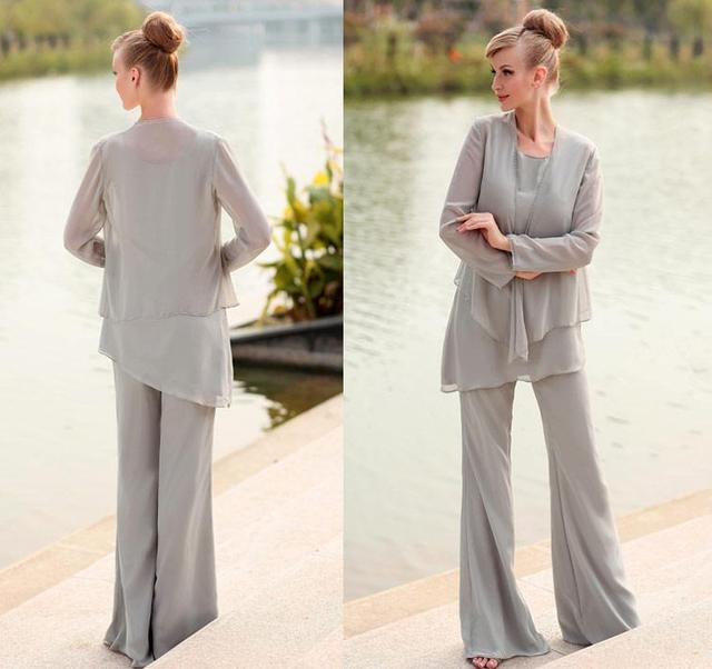 3 PCS Light Grey Chiffon Mother Pants Suit with Jacket Long ...