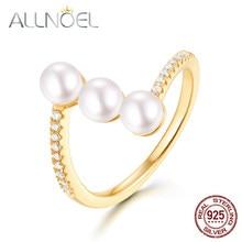 caa4cc138f36 ALLNOEL puro anillo de plata esterlina 925 para mujeres 5mm perlas de oro