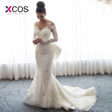 xcos Mermaid Wedding Dresses Long Sleeve