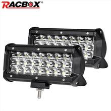 2 Pcs 72W 7 inch Triple Row LED Light Bar 24 LED Spot 12V 24V Off Road 4WD ATV UTV UAZ Motorbike Boat 7″ LED Driving Fog Light