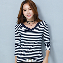 Stripe T Shirt Women Cotton V Neck Basic T-shirts Female Casual Tops Autumn Winter Cotton Tee Long Sleeve T-shirt Korean недорого