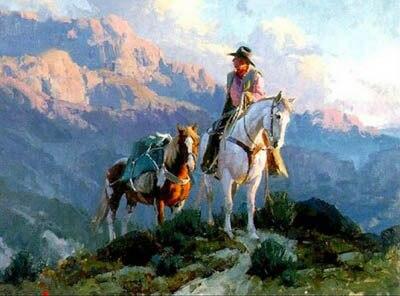 bonne qualit top peint la main art peinture l 39 huile american western art travail cowboy. Black Bedroom Furniture Sets. Home Design Ideas