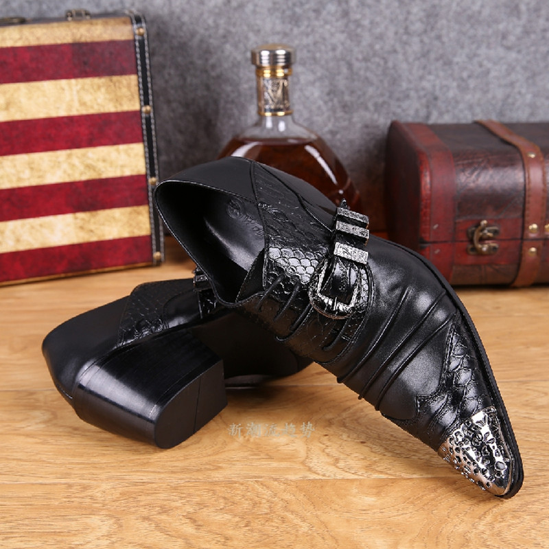 Mens pointed toe dress shoes black white red color crocodile skin men leather shoes iron toe