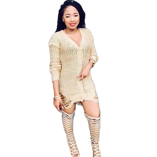 7f0384f26b Sexy Women Knitting Sweater Dress Deep V-Neck Distressed Buttons Ripped  Beggar Dress Solid Loose Casual Party Mini Dress Beige