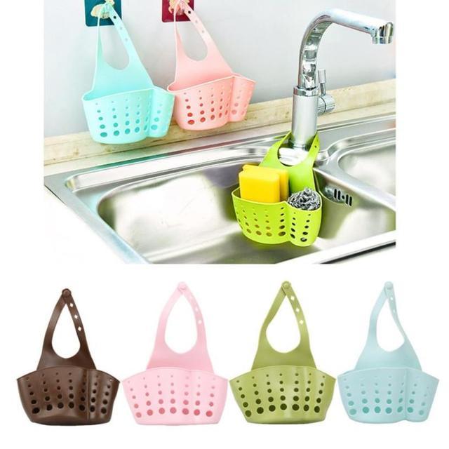 주방 식사 및 바 배수 랙 휴대용 홈 부엌 교수형 드레인 가방 바구니 목욕 보관 도구 싱크 홀더 mar12