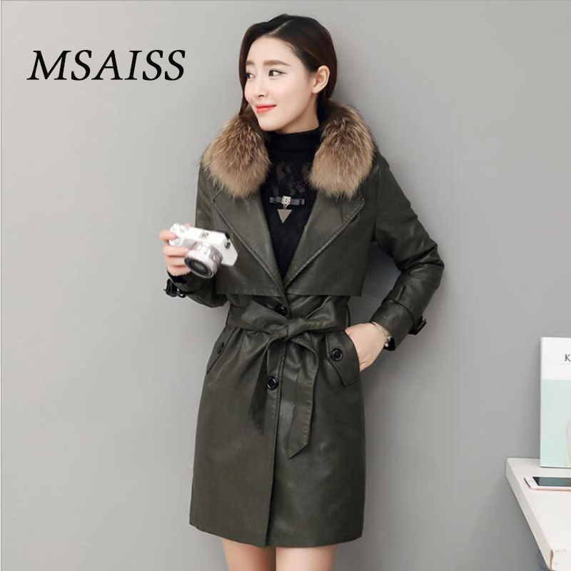 MSAISS 100% Raccoon Fur Collar Women Warm   Leather   Jacket 2017 Winter New Lady Sheep   Leather   Jacket Coat