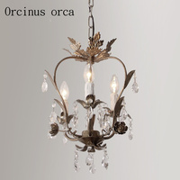 French retro crystal chandelier corridor restaurant bedroom entrance American style crystal lamp free shipping