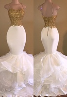 Spaghetti Straps Prom Dress Mermaid with Gold Lace Prom Gown