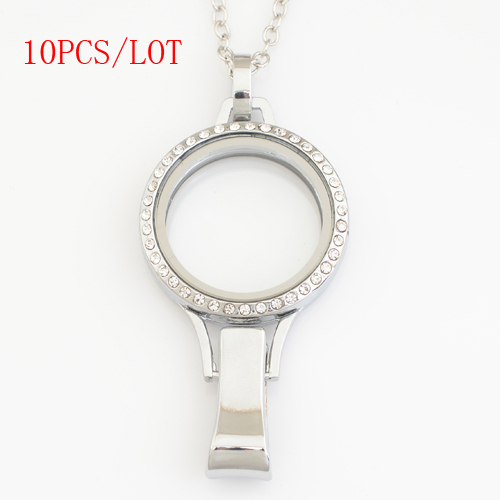 10PCS/LOT,30mm magnetic floating lockets with rhinestones,with free 50-55cm chain FN0036