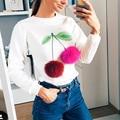Womens Long Sleeve O-neck Collarless Fur Ball Decoration Cherry Ice Cream Cute Lovely Casual Tops Sweatshirt Spring Autumn Q5163
