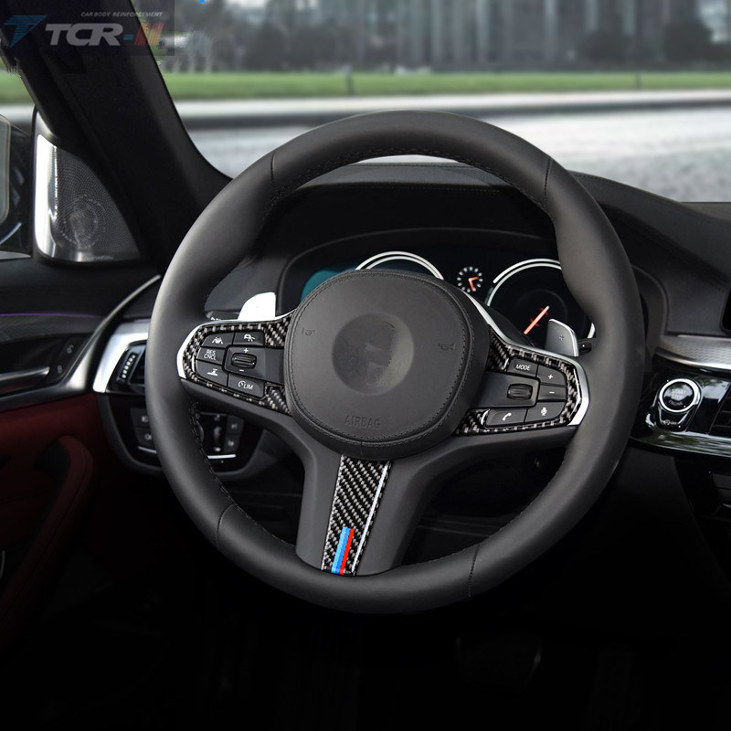 Auto Accessories Carbon Fiber 2pcs/lot 3pcs/lot Steering Wheel Buttons Stickers For <font><b>BMW</b></font> 5 Series G30 <font><b>X3</b></font> <font><b>G01</b></font> Car Styling image