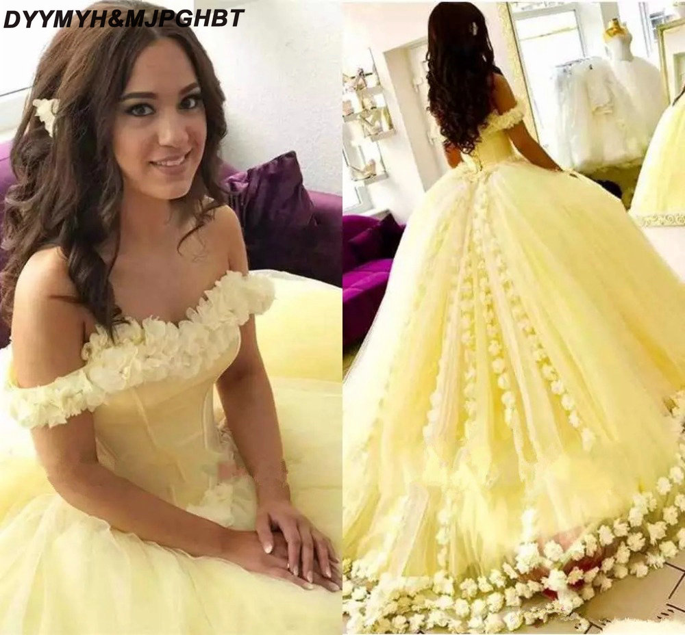 Sweet 16 Dresses Yellow Tulle Ball Gown Quinceanera Offshoulder Sexy Corset Back Vestidos De 2019: Sweet Ball Gown Wedding Dress Corset At Reisefeber.org