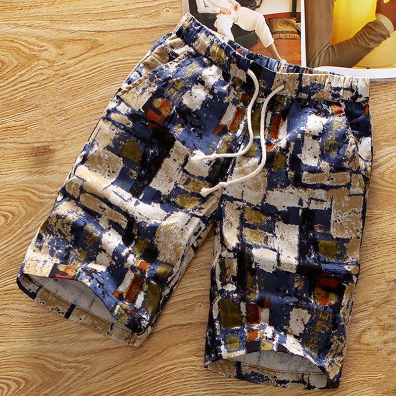 Mens beach shorts personality printing 2018 summer thin section breathable comfort casual male lcotton shorts large size M-5XL
