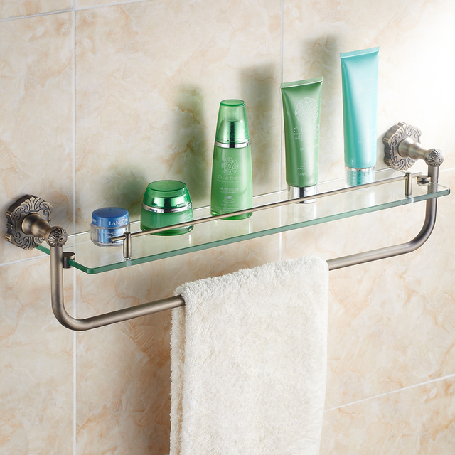 cosmetic rack bathroom glass shelf stands towel rack bathroom accessories bronze color carved - Bathroom Glass Shelves