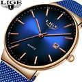 LIGE новые мужские часы Лидирующий бренд Роскошные модные наручные часы с ремешком-сеткой мужские водонепроницаемые наручные часы Аналоговы...