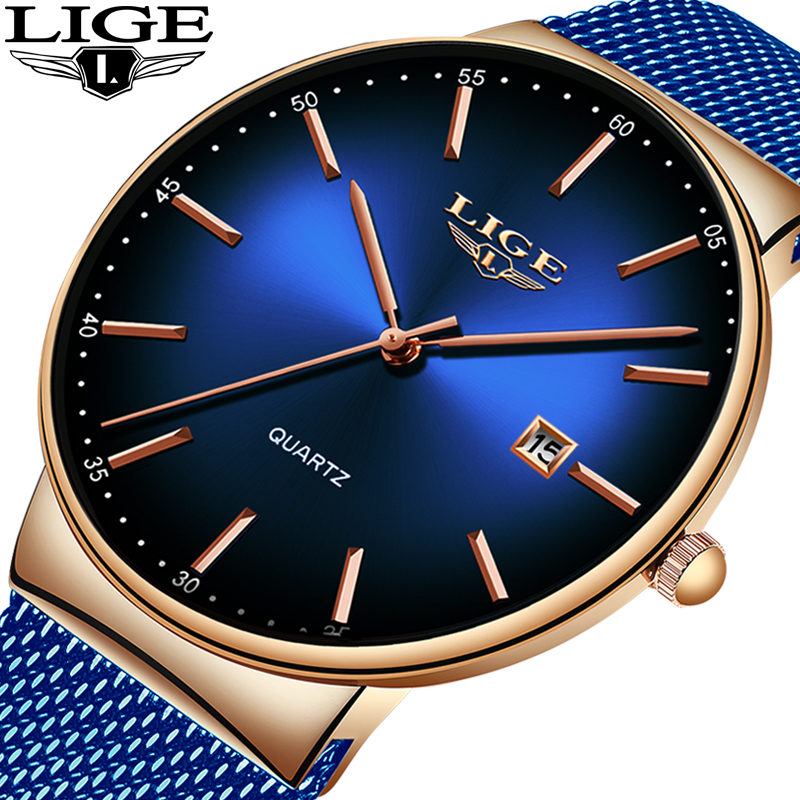 LIGE New Mens Watches Top Brand Luxury Fashion Mesh Belt Watch Men Waterproof Wrist Watch Analog Quartz Clock Erkek Kol Saati