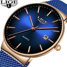 LIGE New Mens Watches Top Brand Luxury Fashion Mesh Belt Watch Men Waterproof Wrist Watch Analog Quartz Clock erkek kol saati mens watches top brand luxury men quartz leather analog wrist watch erkek kol saati relogio masculine
