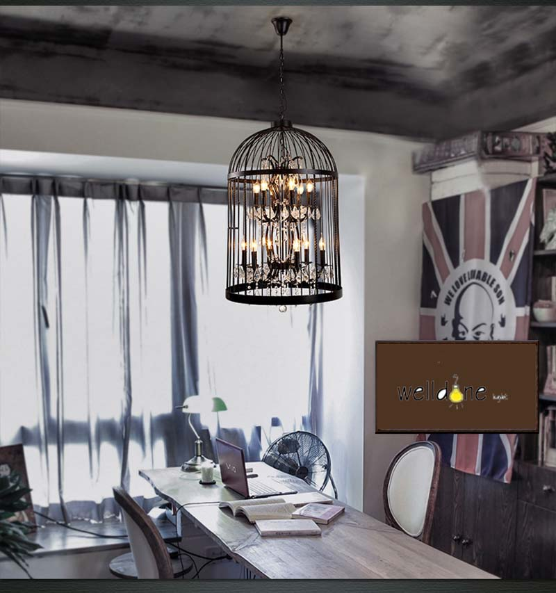 Retro lamparas black decor american vintage industrial bird cage retro lamparas black decor american vintage industrial bird cage pendant light with crystal ornaments nordic birdcage 3545cm in pendant lights from lights mozeypictures Image collections