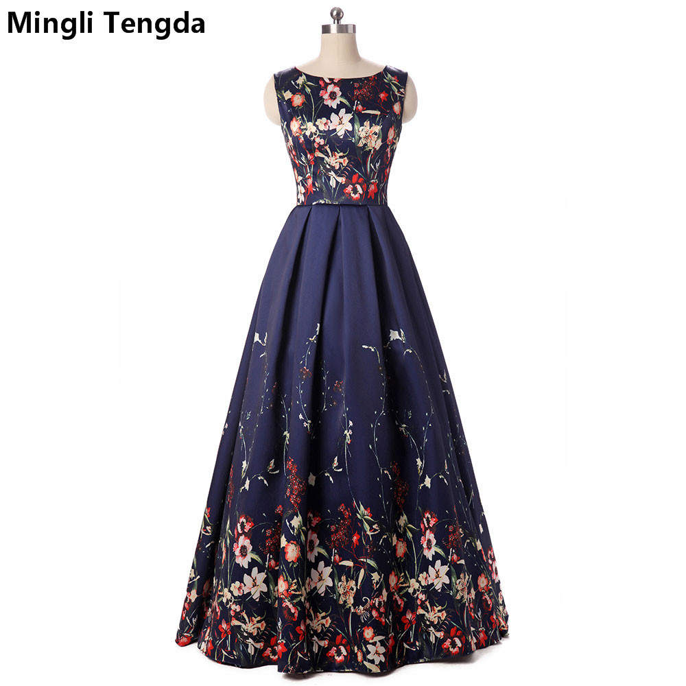 Mingli Tengda 2017 New Blue Long Evening Dresses Floral Printed Sexy Evening Dress Long Party Ball Gown Dresses Robe Soiree