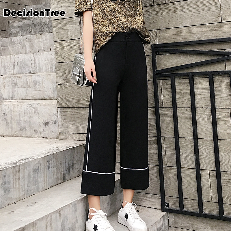 2019 new women pants wide leg pants female trousers full length high waist loose fit drawstring three available 5