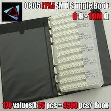 جديد 0805 مقام كاشف التسرب عينة كتاب 1% التسامح 170function esx25pcs = 4250 قطعة المقاوم عدة 0R ~ 10 متر