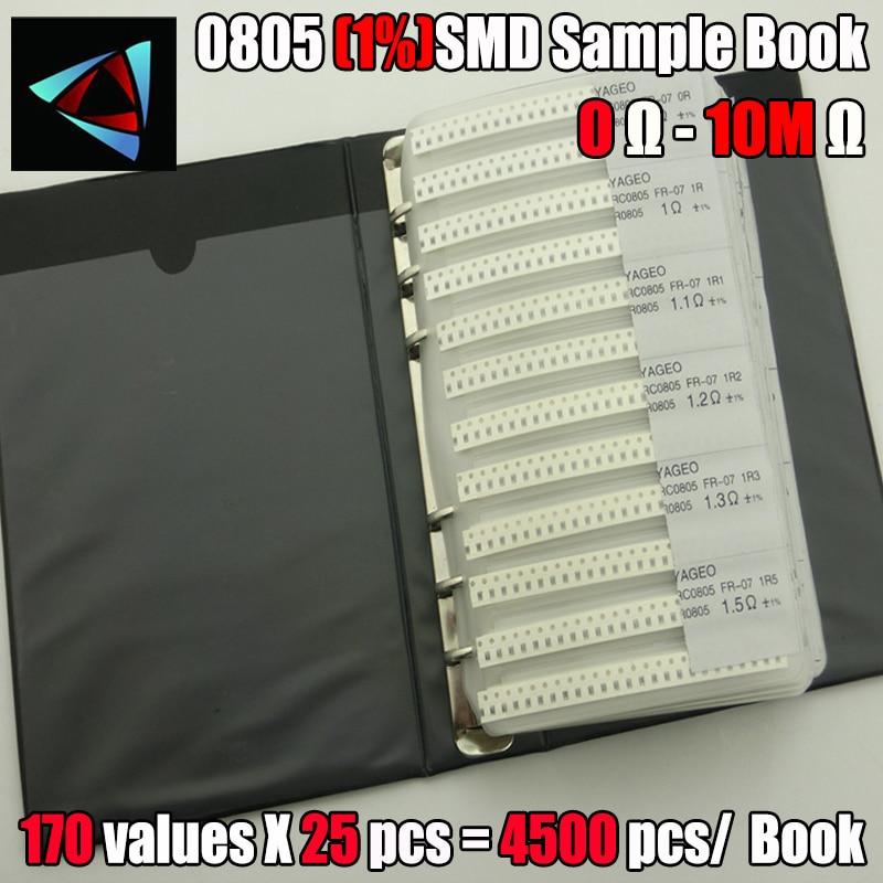 Новинка 0805 SMD образец резистора, книга с 1% толерантность 170 values25 шт. = 4250 шт. комплект резисторов 0R ~ 10 м