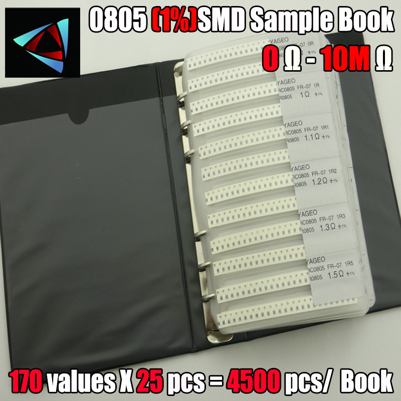 New 0805 SMD Resistor Sample Book 1% Tolerance 170valuesx25pcs=4250pcs Resistor Kit 0R~10M