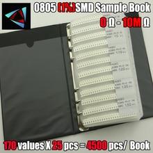 Free shipping 0805 SMD Resistor Sample Book 1% Tolerance 170valuesx25pcs=4250pcs Resistor Kit 0R~10M 0805 240k 5 1m smd resistor white 420 pcs