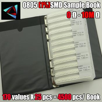 Nowy 0805 SMD rezystor próbka książka 1 tolerancja 170valuesx25pcs = 4250 sztuk zestaw rezystorów 0R ~ 10M tanie i dobre opinie NoEnName_Null CN (pochodzenie) Chip naprawiono opornik Tantal Black other Do montażu powierzchniowego