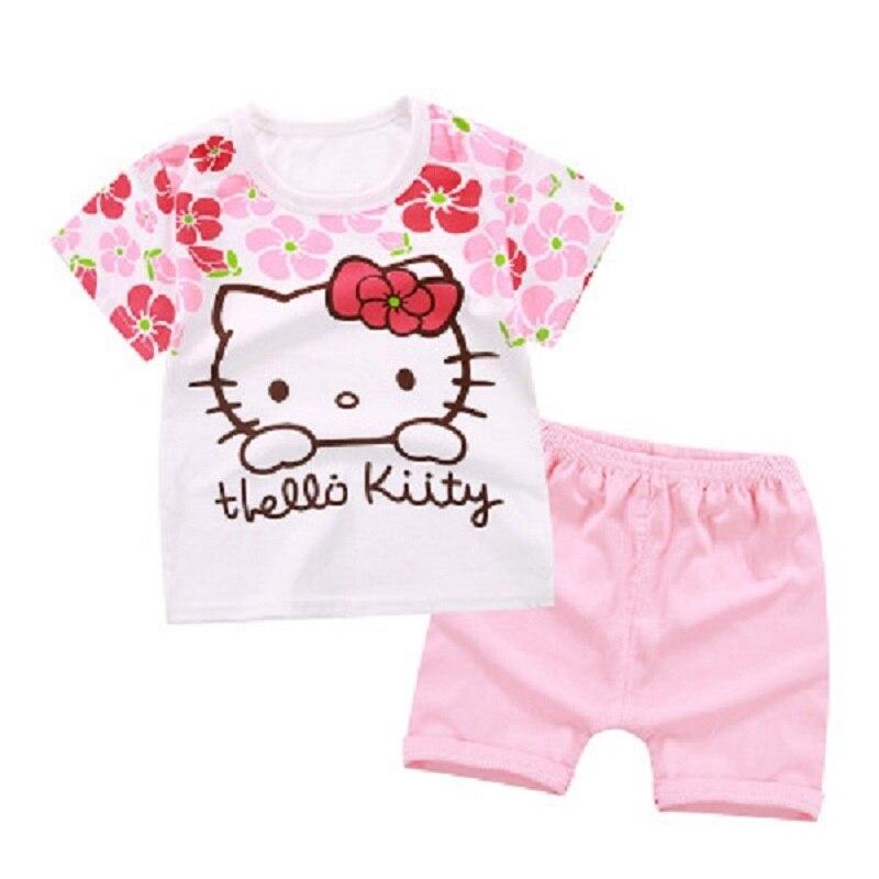 Детские летние шорты рукавами шорты костюм милая хлопковая Удобная футболка комплект рисунок «Hello Kitty» розовая детская 2 шт. для мальчиков и ...