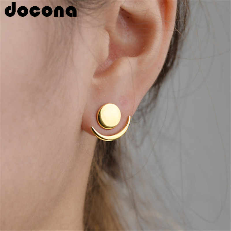 docona Punk Gold Silver Color Round Moon Stud Earring for Women Girl Metal Geometric Studs Earrings Party Jewelry Brincos 6428