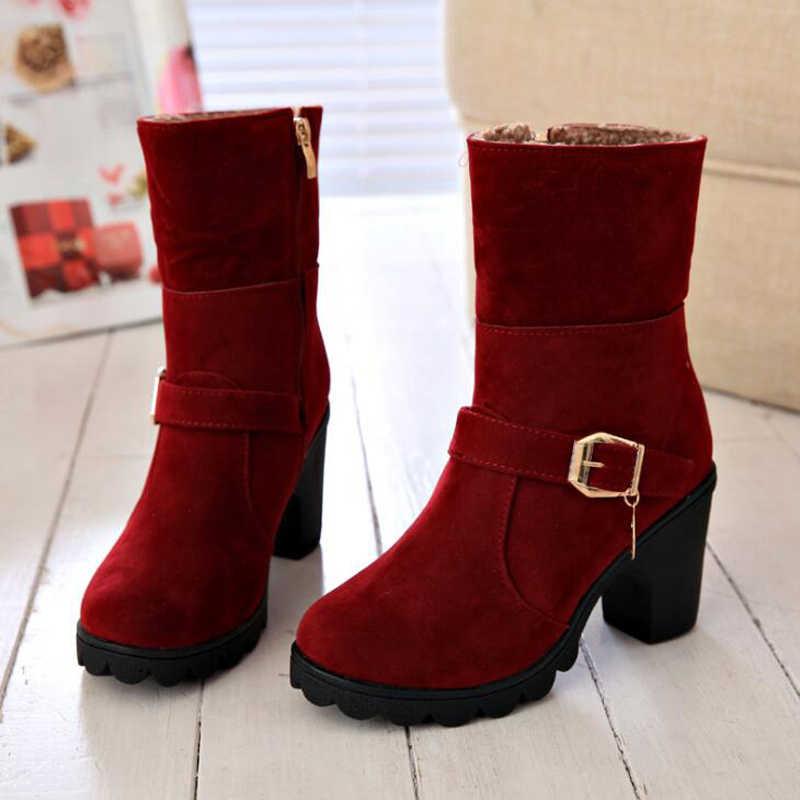 Phụ nữ mắt cá chân khởi động 2018 sang trọng ấm áp mùa đông giày nền tảng dây kéo phụ nữ tuyết khởi động khóa trang trí nội thất không-trượt phụ nữ giày