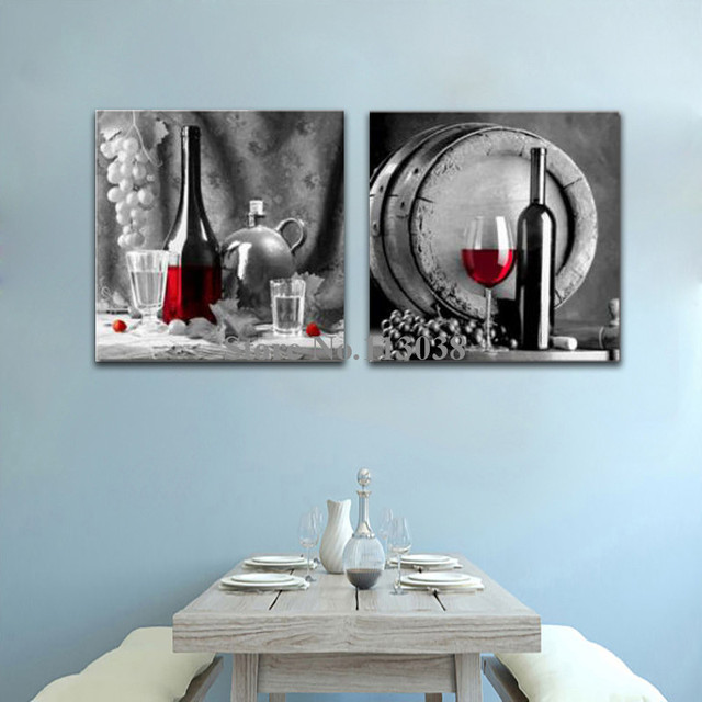 High Quality 2 Pieces Canvas Painting Red Wine And Glass Printed Canvas Painting  Kitchen Wall Art Pictures Framed Or No Frame