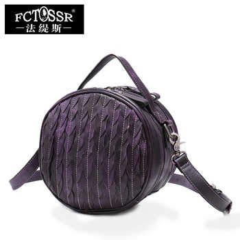 Round Bags Women's Handbag 2019 Retro Genuine Leather Lady Shoulder Bag Soft Cow Skin Leather Handmade Casual Messenger Bag - DISCOUNT ITEM  52% OFF All Category