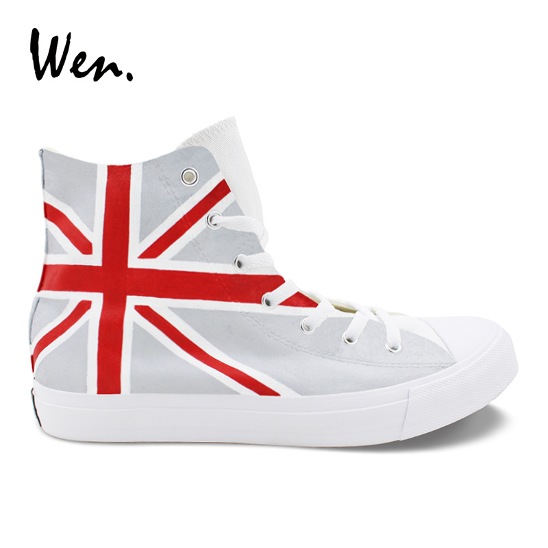Wen Hand Painted Shoes Union Jack UK Flag Design Canvas Sneakers High Top Plimsolls Men Women's Pedal Platform laced Flat Loafer men women converse puerto rico flag hand painted artwork high top canvas shoes unique sneakers