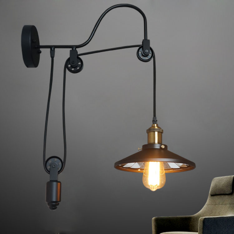 Retro industrial  lifting pulley black  wall lamp Restaurant Bar Cafe corridorRetro industrial  lifting pulley black  wall lamp Restaurant Bar Cafe corridor