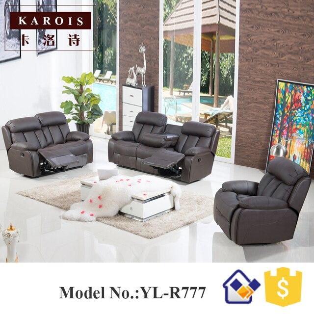 Poder reclinable Motion sofá 3 plazas muebles de sala de cuero ...
