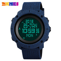 SKMEI Denim Dual Display Sports Wristwatches Men's Women Outdoor Compass 50M Waterprroof Military Watches Relogio Masculino 1430