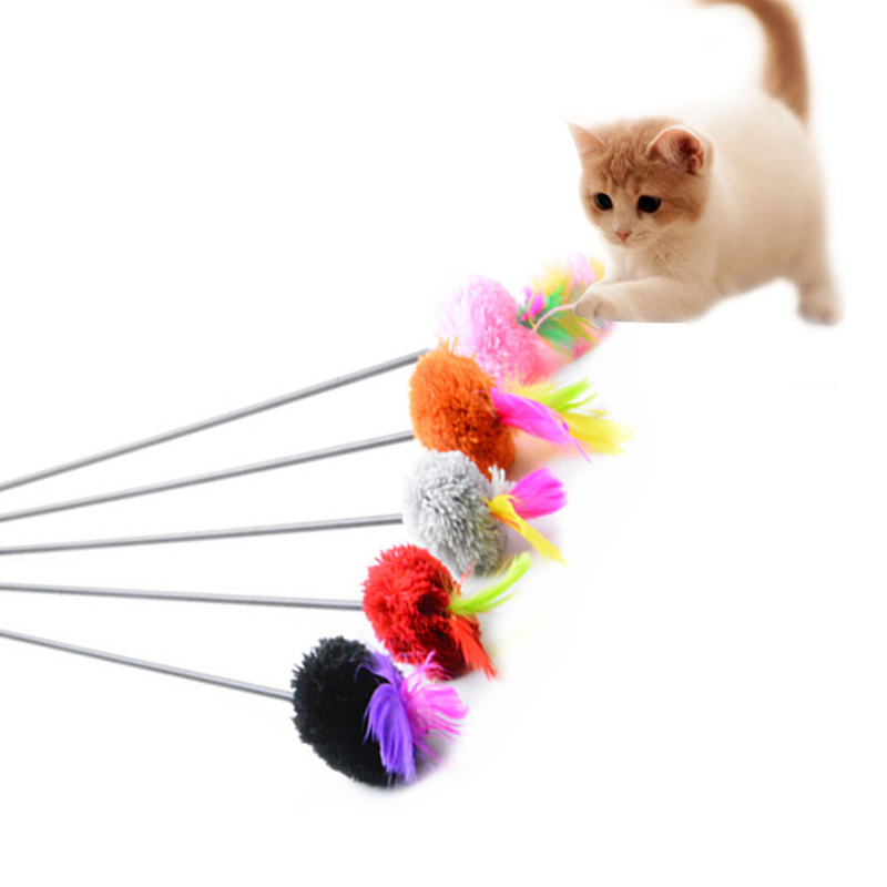 Funny Cat Toys 55cm Rod Length Interactive Fun Toy Feather Colorful Pet Toy Pet Cat Products