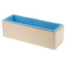 Небесно-голубое гибкое прямоугольное мыло, силиконовая форма для буханки, деревянная коробка для 1,2 кг, инструменты для изготовления мыла