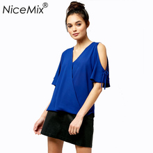 NiceMix 2019 Plus Size Women Chiffon Blouses Sexy Off Shoulder Bow Lacing Sleeve Blusas Casual Loose Shirt Women Tops Summer цена