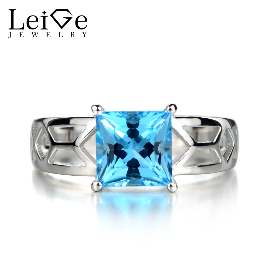 Leige Jewelry Swiss Blue Topaz Rings for Women Princess Cut Solitaire Ring Blue Gemstone 925 Sterling Silver Fine Jewelry leige jewelry swiss blue topaz ring oval shaped engagement promise rings for women 925 sterling silver blue gemstone jewelry