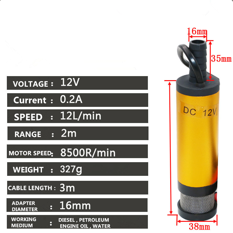 Portable Mini 12V 24V DC Electric Submersible Pump For Pumping Diesel Oil Water Aluminum Alloy Shell 12L/min Fuel Transfer Pump 5